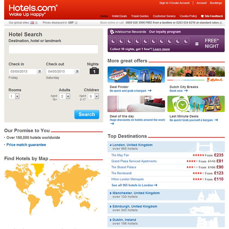"""Hotels.com UK """"Before"""""""